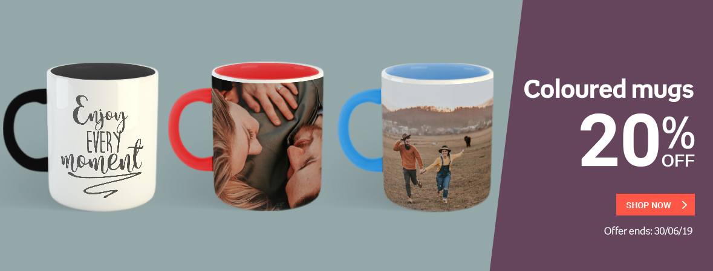 Coloured mugs 20% OFF